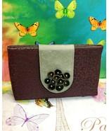 ADD LIBB DESIGNS Florettes Biloba Fabric Leather bag Mauve Dot Vine Clutch - $26.17