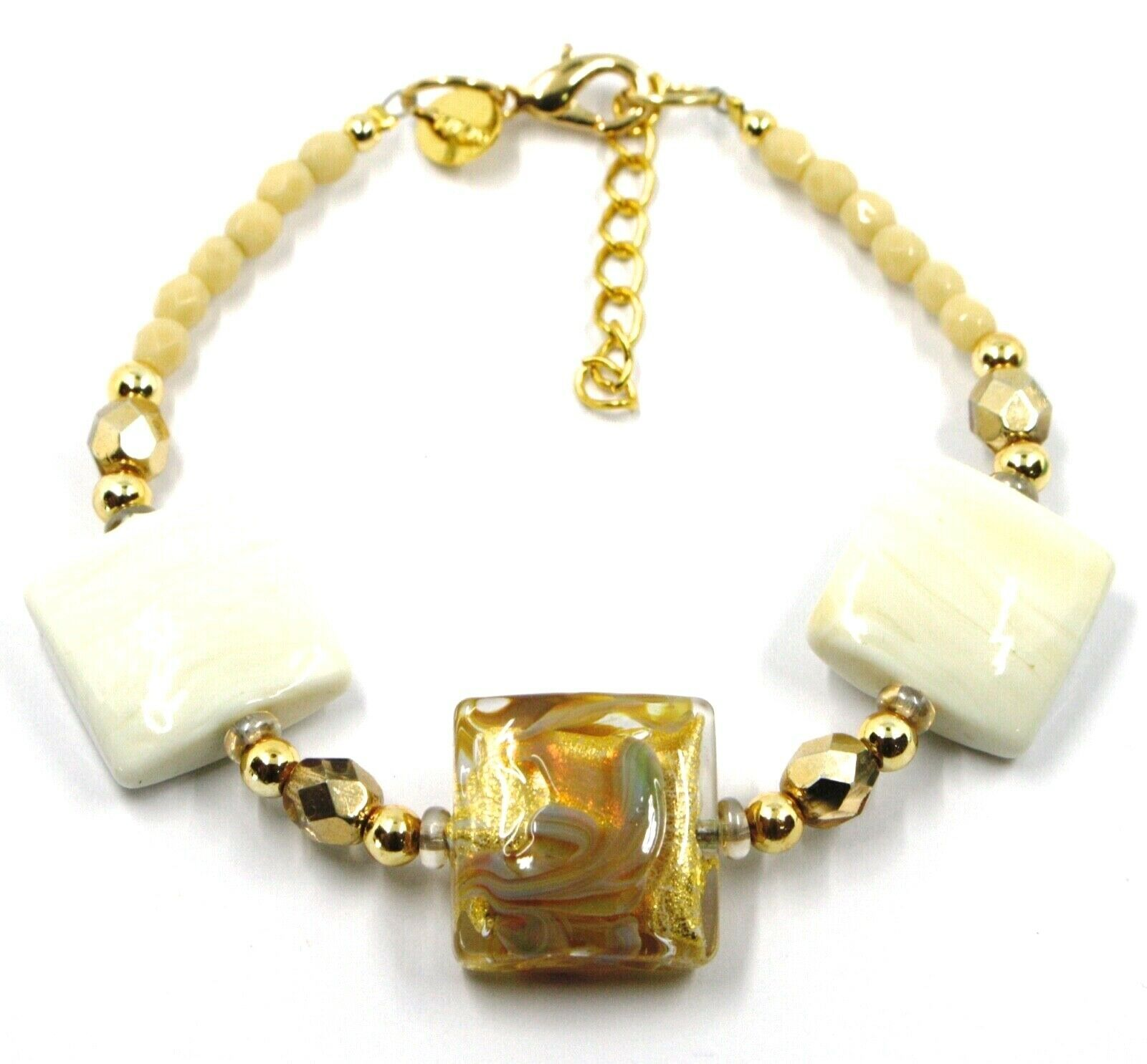 BRACELET WITH WHITE MURANO SQUARE GLASS & GOLD LEAF, MADE IN ITALY, 19cm, 7.5""
