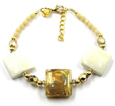 "BRACELET WITH WHITE MURANO SQUARE GLASS & GOLD LEAF, MADE IN ITALY, 19cm, 7.5"" image 1"