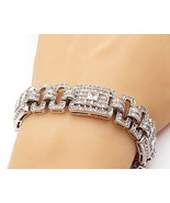 925 Sterling Silver - Sparkling Cubic Zirconia Square Chain Bracelet - B... - $167.55