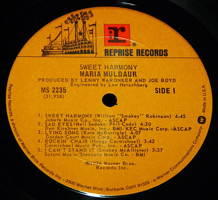 "Maria Muldaur   ""Sweet Harmony""  Reprise Records MS-2235   LP"