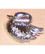 Vintage Costume Jewelry Silvertone Swan Pin - $5.75