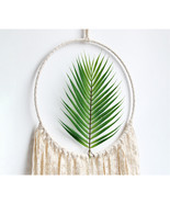 Macrame Wall Art Tapestry Hanging With White Tassels Green Leaf Dream Ca... - $35.26 CAD