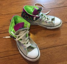 Converse Girls' Youth Size 3 Double Tongue  Polka Dot Sneakers All Stars... - $27.67
