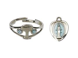 Miraculous Communion Set  - Silver Plate - Blue Heart Shape Medal