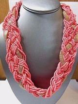 Wide Contemporary Seed Bead Necklace Pink Salmon Color W Mesh Accents Statement - $12.00