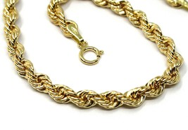 18K YELLOW GOLD BRACELET 4 MM BRAID ROPE LINK, 7.30 INCHES LONG, MADE IN ITALY image 2