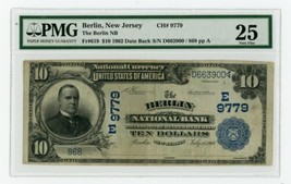 1902 $10 National Currency Note Berlin National Bank Fr#619 - PMG VF25 - $3,750.00