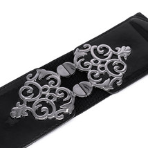 "Ladies Black Elasticated Waist Belt 2 ½"" - Waistband Buckle Stretch Retr... - $11.16"
