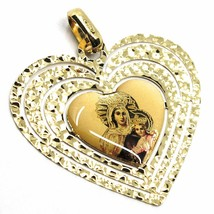 18K YELLOW GOLD BIG 28mm HEART MEDAL VIRGIN MARY OF MOUNT CARMEL WORKED FRAME image 1