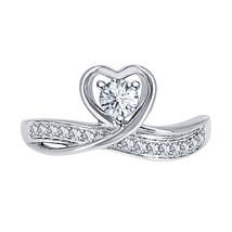 Round Cut Diamond 14k White Gold Over 925 Silver Lovely Heart Promise Ring - $59.49