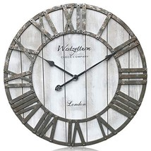 Westzytturm Large Rustic Wood Wall Clocks Battery Operated Non Ticking Q... - $109.54