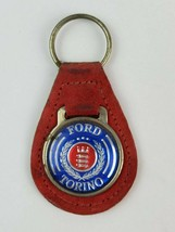 Vintage Ford Torino Logo Leather Keychain KeyRing FOB Tab Red w blue face - $14.95