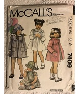 McCall's 7409 Sewing Pattern Vtg Toddlers Sz 4 Coat, Dress, Hat - $14.95