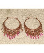 Vintage Costume Jewelry Rose Goldtone Earrings with Pink Bea - $5.95