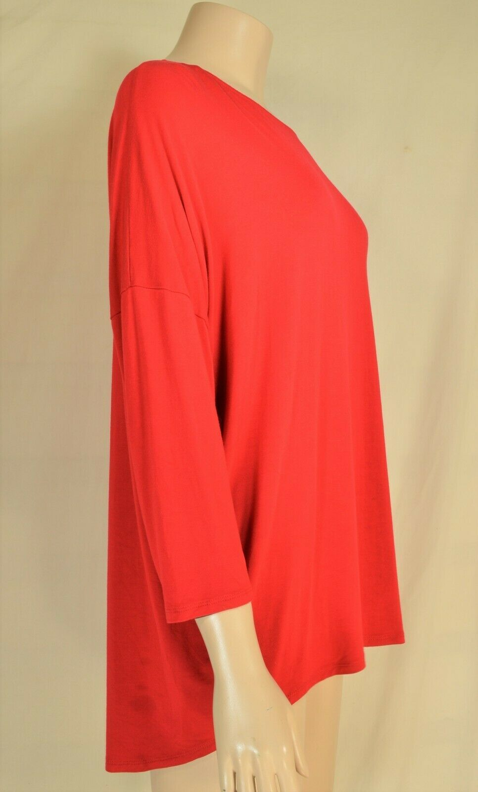Planet Lauren Grossman top SZ medium bright red dolman sleeves hi lo longer in