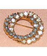 Vintage Costume Jewelry Rhinestone Double Circle Pin - $5.35