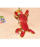Vintage Costume Jewelry Goldtone/Red Cat Pin/Tie Tack - $5.25