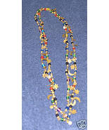 Vintage '80's Costume Jewelry Moon & Stars Necklace Gold Tone & Color Va... - $5.95