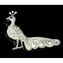 Peacock Peafowl Peahen Bird Swarovski Crystal B... - $45.00