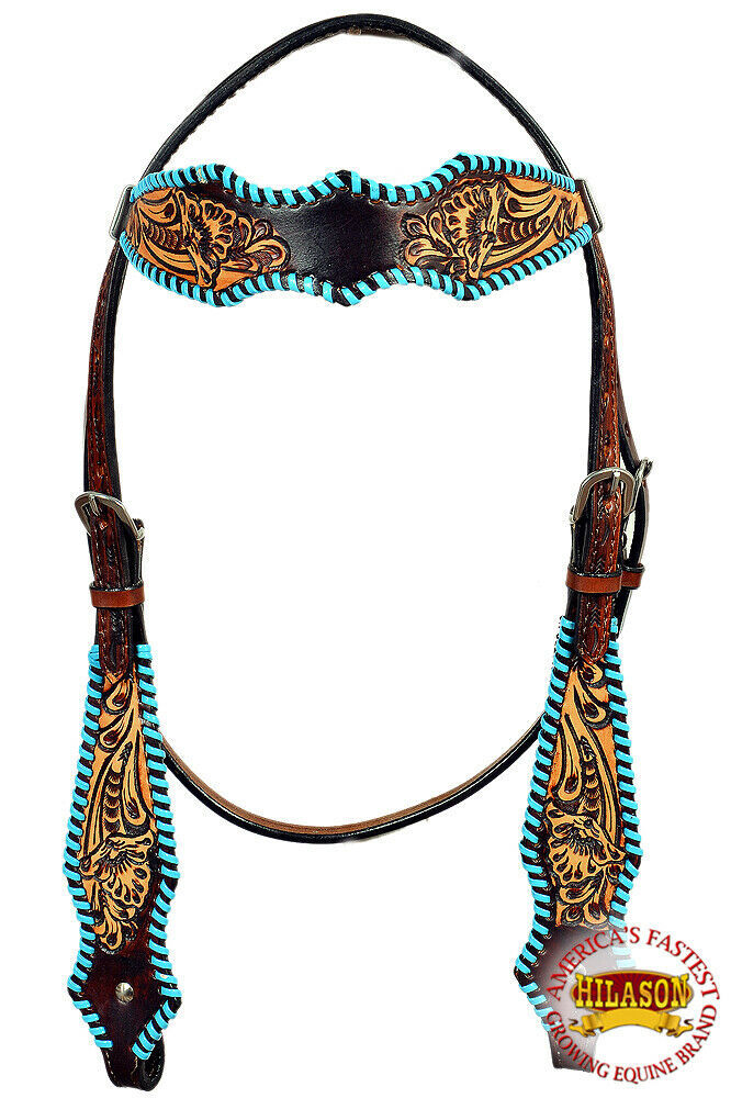 Western Horse Headstall Tack Bridle American Leather Turquoise Hilason U-Q-HS