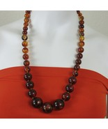 """Vintage 70s Necklace Brown Amber Graduated Bead Gold Bead Spacing 14"""" Dr... - $89.05"""
