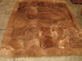 Light brown Alpaca fur rug from the Andean of Peru, Octagon design, 80 x 60 cm - $128.30