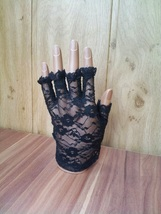 Delicate black or white gloves without fingers - $7.90