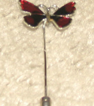 Vintage Costume Jewelry Goldtone & Red Stick Pin - $4.95