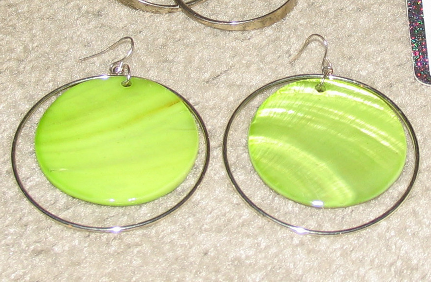 "Vintage Green & Silvertone 2"" Hoop Earrings"