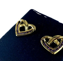 Danbury Mint Heart Earrings 14K Gold Plated 925 Sterling Vermeil Amethys... - $26.14