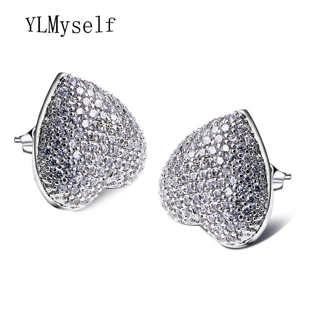 Cute and romantic jewellery love heart big stud earing with aaa cz crystal jewelry white the