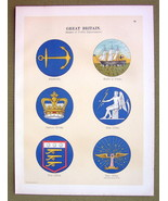 FLAGS England Dept Badges War Office Customs Admiralty - 1899 Color Lith... - $16.20