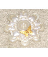Vintage Costume Jewelry Hallmark White with Gold Butterfly P - $3.95