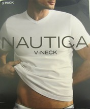 3 GENUINE NAUTICA MENS SIZE LARGE COTTON WHITE V-NECK T-SHIRTS UNDERSHIR... - $19.79