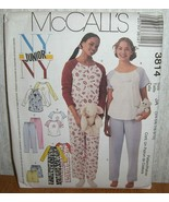 McCall's 3814 NY Junior Sz 11/12-17/18 Nightgown, Top, Jumpsuit, Pants a... - $7.91