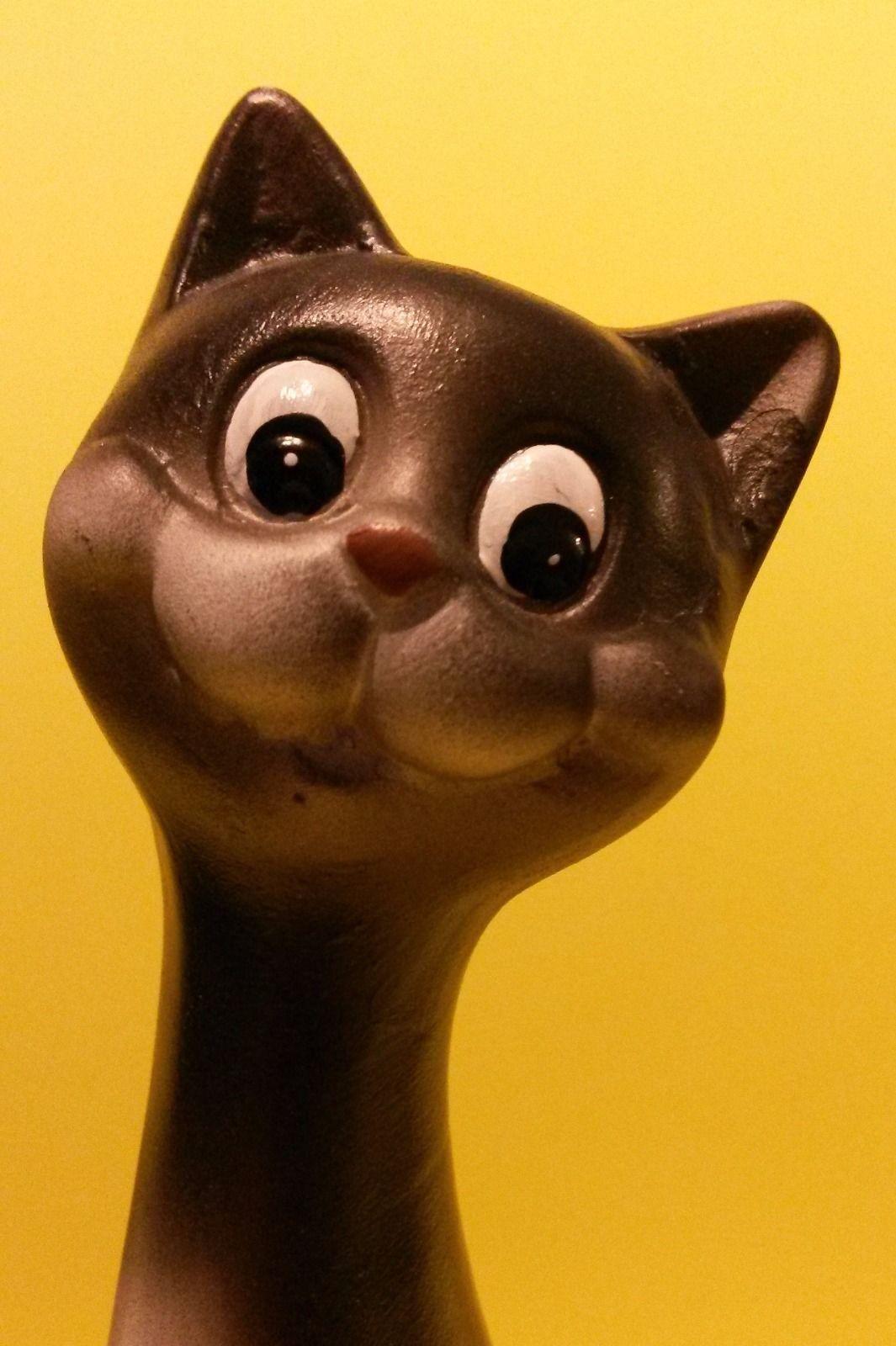 "Happy Cat Figurine, Black Ceramic 7.5"" Smiling Kitten Animal Pet Decor NEW"