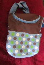 child's lunch bag A D SUTTON & SONS blue, brown - zippered (c1) - $3.50