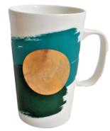 Starbucks Coffee Mug Gold Metallic Circle Blue Green 2014 Tall Tea Cup 16 Ounce - $13.59