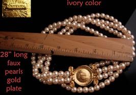 """LARGE designer pearl necklace / Richelieu enamel eagle  / 28""""  wedding jewelry / image 5"""