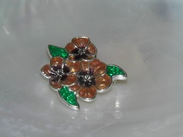 Estate AK Signed Small Brown & Green Enamel Flowers with Clear Rhineston... - $9.85