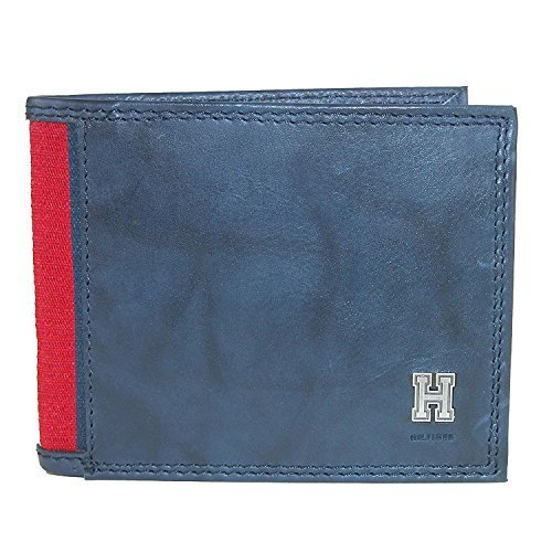Tommy Hilfiger Men's Leather Traveler Passcase Bifold Wallet, Navy