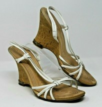 Etienne Aigner Size 9.5 M White Leather Slingback Wedge Sandals Women's Shoes - $21.37