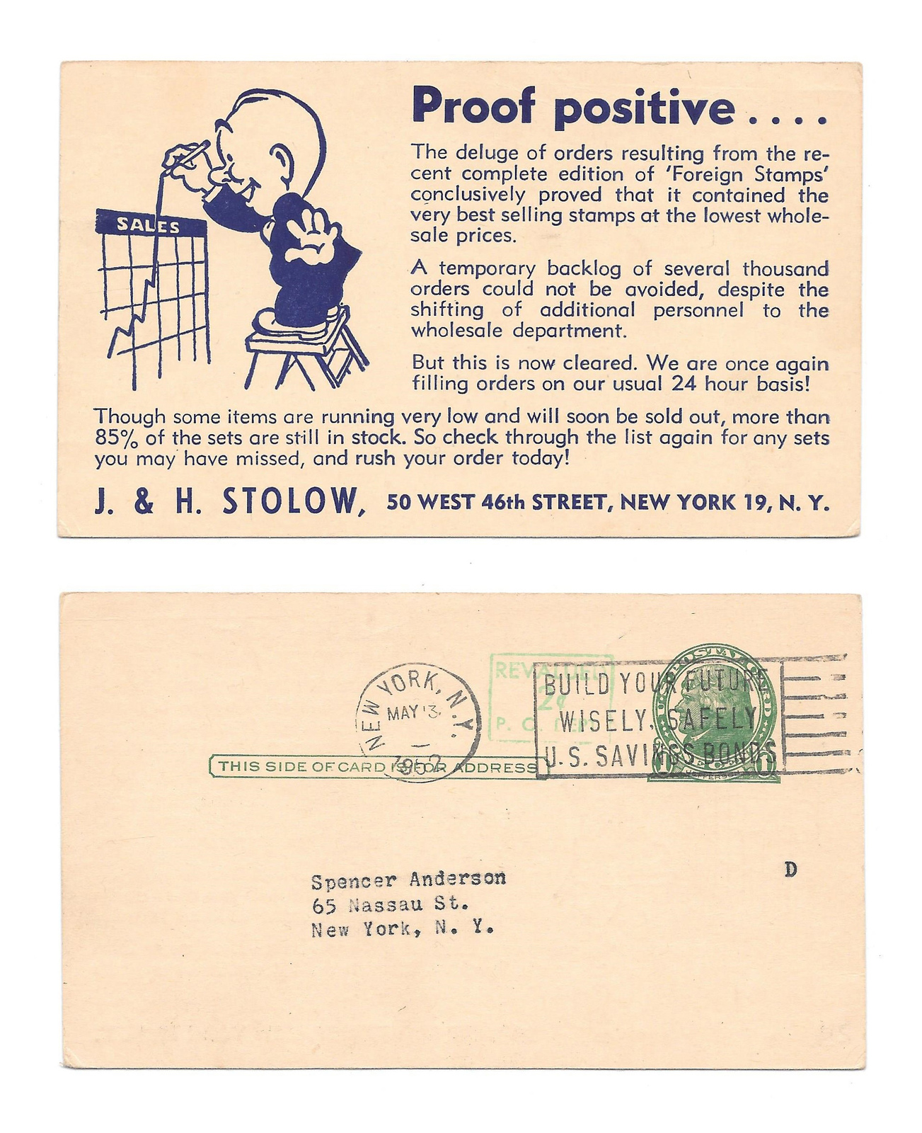 Primary image for UX39 Philatelic Illustrated Advertising Postal Card J H Stolow Stamps New York