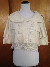 Jak&Rae Cotton Blend Capelet Jacket Lace Bottom Detail SZ 2 - $64.35