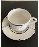 Christopher Stuart ANGLES China ~ MCM Black White Geometric  ~ Cup & Saucer - $5.99