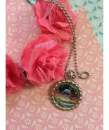 Jumping Sunset Dolphins Bottle Cap Necklace - $4.00