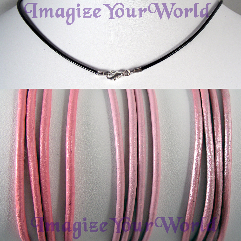 Primary image for PINK 2 mm LEATHER Cord Necklace - CUSTOM up to 24 inches valentine
