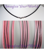 PINK 2 mm LEATHER Cord Necklace - CUSTOM up to 24 inches valentine - $4.50
