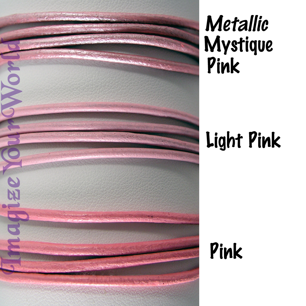 PINK 2 mm LEATHER Cord Necklace - CUSTOM up to 24 inches valentine